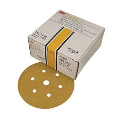"""3M 1083 Hookit™ Gold Disc D/F 01083, 6"""", P80C, 75 discs/bx"""
