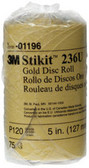 "3M 1196 Stikit™ Gold Disc Roll 01196, 5"", P120A, 75 discs/roll"