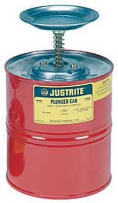 Justrite 10308 1 Gallon Steel Plunger Can
