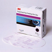 3M 30769 Purple Finishing Film Hookit™ Disc Dust-Free, 6 in, P1000, 50 discs per box