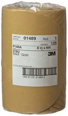 """3M 1489 Stikit™ Gold Disc Roll 01489, 8"""", P180A, 125 discs/roll"""