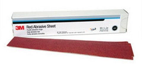 3M 1179 Red Abrasive Hookit™ Sheet, 2 3/4 in x 16 1/2 in, P180, 25 sheets per box