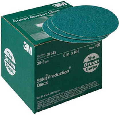 "3M 1550 Green Corps™ Stikit™ Production™ Disc 01550, 8"", 40E, 50 discs/bx"