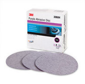 3M 30684 Purple Abrasive Disc, 6in, 80E, 25 discs per box, 4 per box
