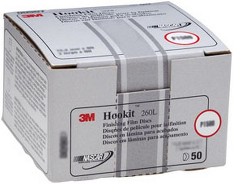 "3M 908 Hookit™ Finishing Film Disc 00908, 3"", P1200, 50 discs/bx"
