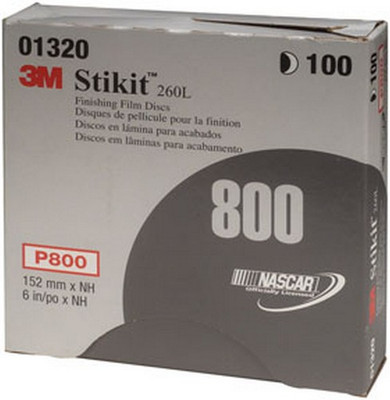 """3M 1320 Stikit™ Finishing Film Disc 01320, 6"""" , P800, 100 discs/bx"""