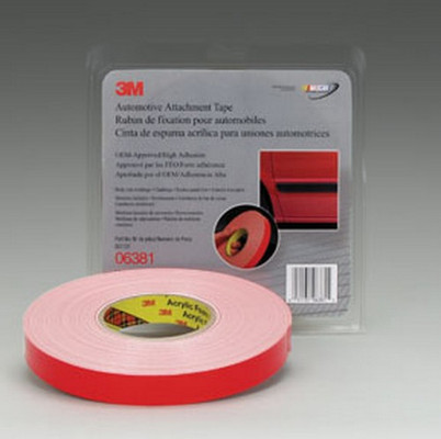 "3M 6381 Automotive Attachment Tape 06381, White, 7/8"" X 20 Yds, 45 mil"