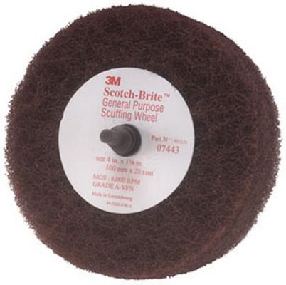 """3M 7443 Scotch-Brite™ Scuffing Wheel General Purpose 07443, 4"""" x 1 1/8"""", 10/cs"""