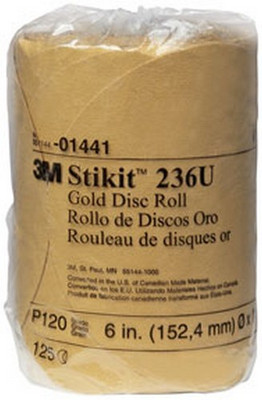 "3M 1441 Stikit™ Gold Disc Roll 01441, 6"", P120A, 125 discs/roll"