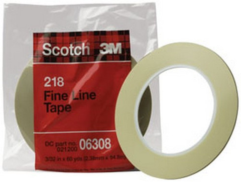 "3M 6308 Scotch® Fine Line Tape 218, 3/32"" x 60 yd"