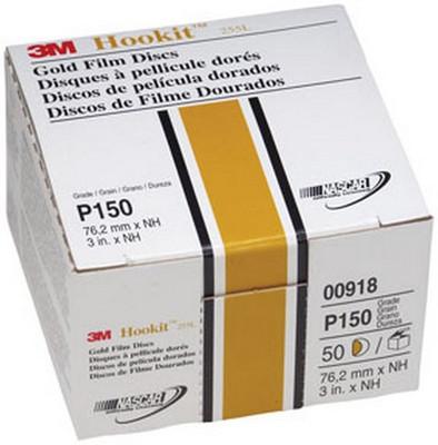 """3M 918 Hookit™ Gold Disc 00918, 3"""", P150C, 50 discs/bx"""