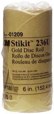 "3M 1209 6"" Stikit™ Gold P180 Grade Sanding Discs- 75 Disc Roll"
