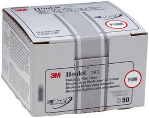 "3M 968 Hookit™ Finishing Film Disc 00968, 6"", P1200, 100 discs/bx"