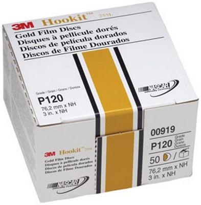 """3M 919 Hookit™ Gold Disc 00919, 3"""", P120C, 50 discs/bx"""