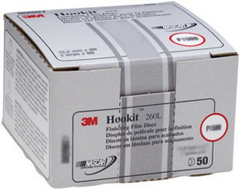 "3M 909 Hookit™ Finishing Film Disc 00909, 3"", P1000, 50 discs/bx"