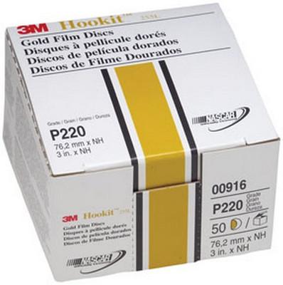 "3M 916 Hookit™ Gold Disc 00916, 3"", P220A, 50 discs/bx"