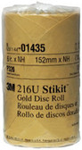 "3M 1435 6"" Stikit™ Gold P320 Grade Sanding Discs- 175 Disc Roll"