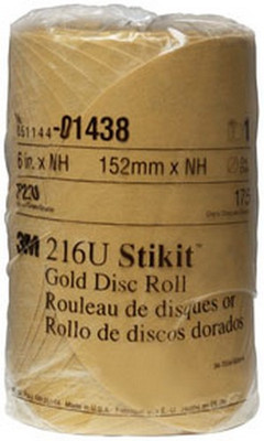"3M 1438 6"" Stikit™ Gold P220 Grade Sanding Discs- 175 Disc Roll"