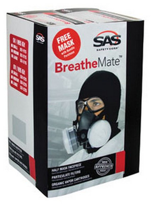 SAS Safety 031-3115 BreatheMate Respirator Kit Bundle, Large