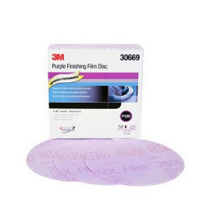 3M 30669 Purple Finishing Film Hookit™ Disc, 6 in, P1000, 50 discs per box
