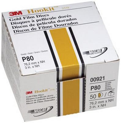 """3M 921 Hookit™ Gold Disc 00921, 3"""", P80C, 50 discs/bx"""