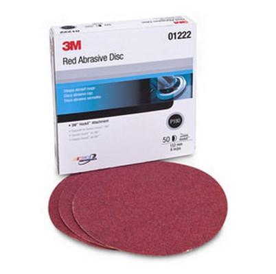 3M 1222 Red Abrasive Hookit™ Disc, 6 in, P180, 50 discs per box