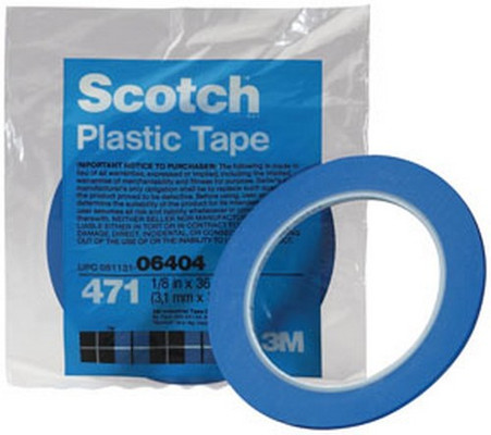 "3M 6408 Scotch® Plastic Tape 471 Blue, 1/2"" x 36 yd"