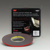 "3M 6386 Automotive Acrylic Plus Attachment Tape 06386, Black, 1/4"" X 20 Yds, 45 mil"