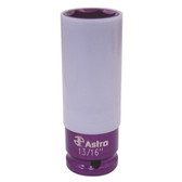 "Astro Pneumatic 7870-1316 13/16"" Impact Socket with Chrome Protective Plastic Sleeve and Shallow Broach"