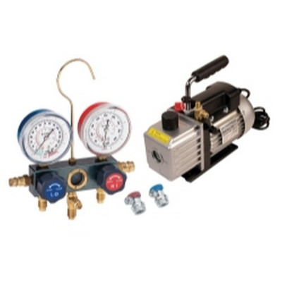 FJC  KIT6M Vacuum Pump and Aluminum Block Manifold Gauge Set with Manual Couplers