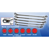 EZ Red NR5M Metric Ratcheting Wrench Set 5pc