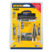 Irwin 15506SM 3 Piece Unibit HSS and Cobalt Set (#1, #4 and #2)