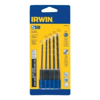 Irwin 4935642 5 Piece Black Oxide Hex Shank Drill Bit Set