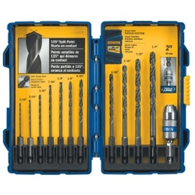 Irwin 4935643 12 Piece Black Oxide Hex Shank Drill Bit Set