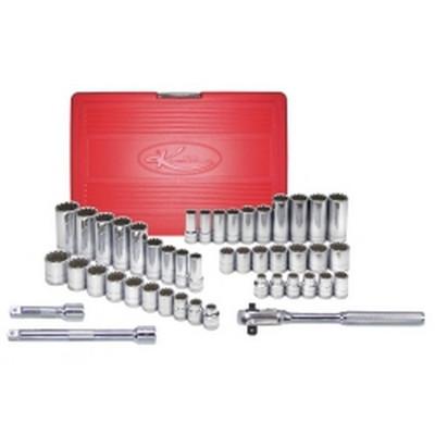 "K Tool KTI-20045 45 Piece 3/8"" Drive Standard and Deep SAE and Metric Spline Socket Set"