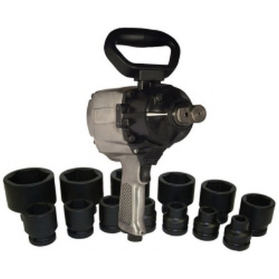 "K Tool KTI-81795 1"" Drive Air Impact Wrench with 13 Piece SAE Socket Set"