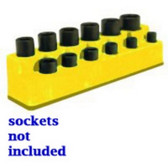 "Mechanics Time Saver 1383 3/8"" Drive 12 Hole Neon Yellow Impact Socket Holder"