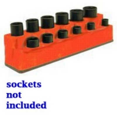 Mechanics Time Saver 1384 3/8 in. Drive 12 Hole Solar Orange Impact Socket Holder