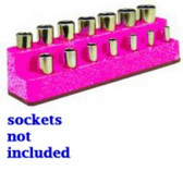 "Mechanics Time Saver 1482 3/8"" Drive 14 Hole Hot Pink Impact Socket Holder"