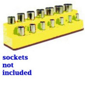 Mechanics Time Saver 1483 3/8 in. Drive 14 Hole Neon Yellow Impact Socket Holder