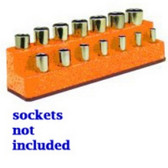 Mechanics Time Saver 1484 3/8 in. Drive 14 Hole Solar Orange Impact Socket Holder
