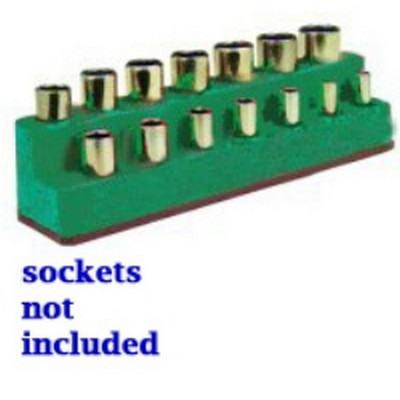 Mechanics Time Saver 1486 3/8 in. Drive 14 Hole Dark Green Impact Socket Holder