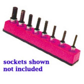 Mechanics Time Saver 382 3/8 in. Drive Universal Magnetic Hot Pink Socket Holder 10-19mm