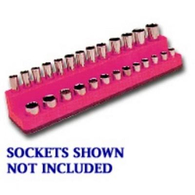 Mechanics Time Saver 722 1/4 in. Drive Magnetic Hot Pink Socket Holder   4-14mm