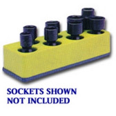 Mechanics Time Saver 883 3/8 in. Drive Universal Yellow 8 Hole Impact Socket Holder