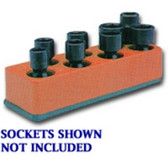 Mechanics Time Saver 884 3/8 in. Drive Universal Solar Orange 8 Hole Impact Socket Holder