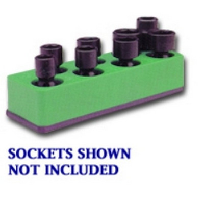 Mechanics Time Saver 885 3/8 in. Drive Universal Neon Green 8 Hole Impact Socket Holder