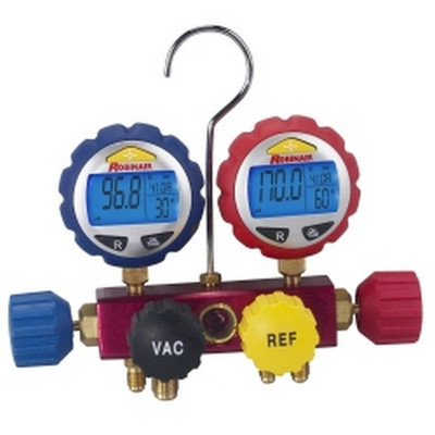 Robinair 43160 4-way Refrigerant Manifold with Digital Gauges