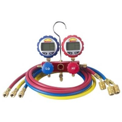 """Robinair 43186 2-Way Manifold with Digital Gauges and 60"""" Enviro-Guard Hoses"""