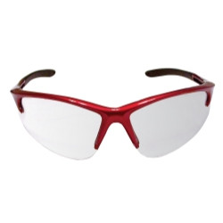 SAS Safety 540-0400 DB2 Safety Glasses with Clear Lens and Red Frame in Polybag